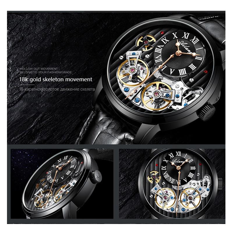 Классический дизайн турбийон стимпанк механические стальные часы для мужчин Скелет автоматические механические мужские часы кожаные часы 2019 Новинка - 5