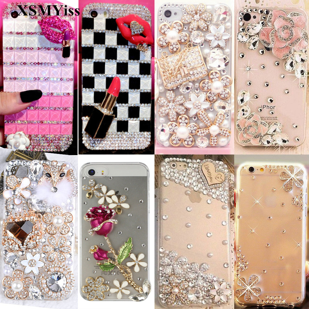 XSMYiss phone case Fashion Bling Crystal diamond Pearl Soft Transparent Case For Samsung S7 S8 S9 S10 PLUS S10 Lite Note5 8 9 image