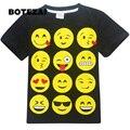 Adolescentes e crianças meninos meninas t-shirt 2017 estilo mais recente Emoji impressão camisa de manga curta t para crianças de moda de nova novidade adolescente roupas