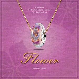 Image 2 - Athenaie original Murano Glas 925 Silber Core Fünf Petaled Blumen Charme Perlen Fit Pandora Armbänder und Halsketten Farbe Lila