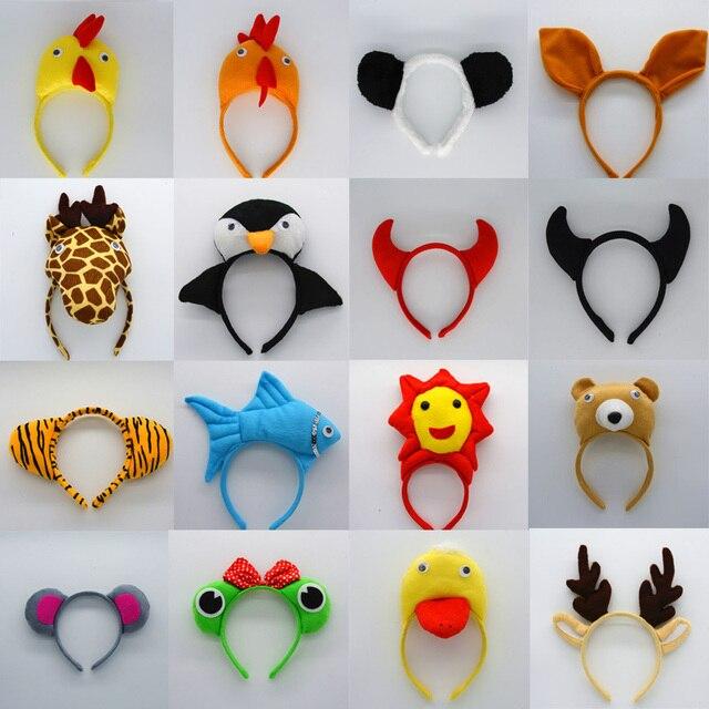Animal Ear Headband Pig Giraffe Tiger Dog Monkey Cosplay Hairbands Headwear Carnival Children Birthday Party Halloween 1
