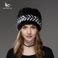 Mosnow 2017 New Natural Lông Chồn Mũ Mùa Đông Mũi Tên Mô Hình Phụ Nữ Vogue Dệt Kim Casual Nhãn Hiệu Ấm Hat Nữ Skullies Beanies