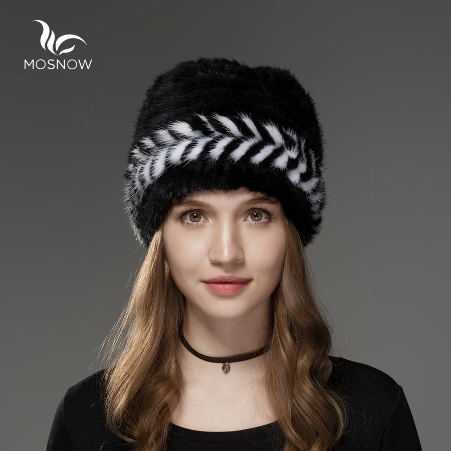 Mosnow 2018 New Natural Mink Fur Hat Winter Arrow Pattern Women Vogue Knitted Casual Brand Warm Hat Female   Skullies     Beanies