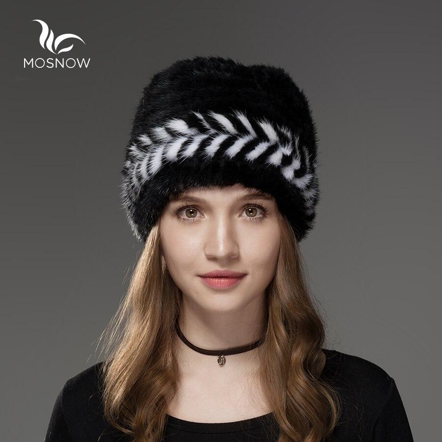 Mosnow 2018 New Natural Mink Fur Hat Winter Arrow Pattern Women Vogue Knitted Casual Brand Warm  Hat Female Skullies Beanies