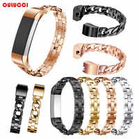 Para Fitbit Alta HR y Alta bandas, Oulucci reemplazo de cadenas de acero inoxidable pulseras ajustables grandes plata negro