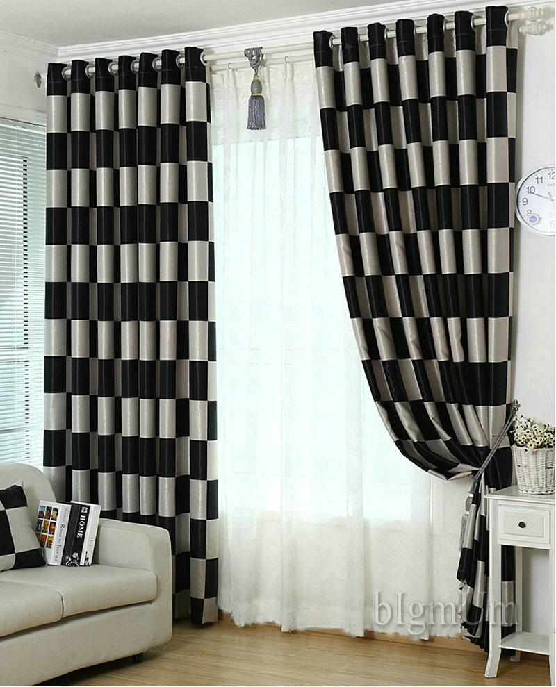 Online kopen wholesale zwart plaid gordijnen uit china zwart plaid ...