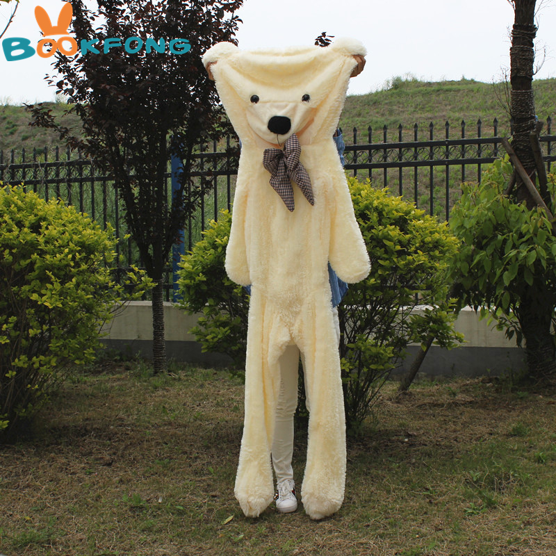 200 cm Pelle Orsacchiotto Giocattolo Della Peluche Teddy Bear Pelle D'orso Giant Teddy Bear Cappotto Peluche Bambini Giocattolo di Compleanno di Natale FAI DA TE regalo