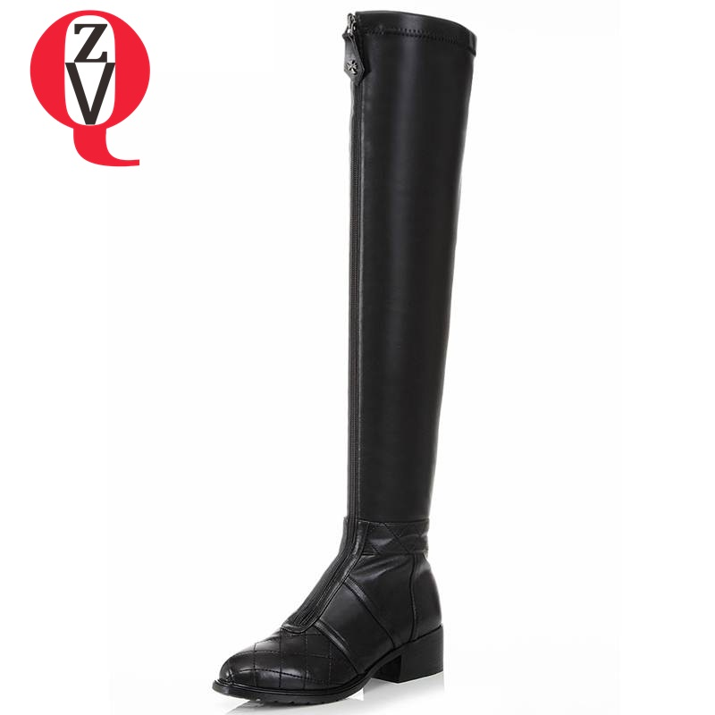 ZVQ 2017 over-the-knee high boots special front zipper genuine leather round toe lengthen the leg line modern women boots
