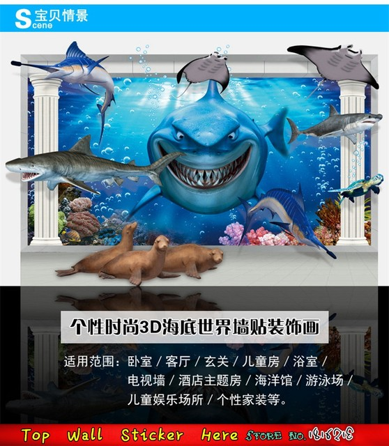 3D Shark Wall Stickers Big Teeth Whale Dolphin Sea Animals Finding Nemo Wall  Decals, Blue Ocean Home Decal Kids Movie Poster