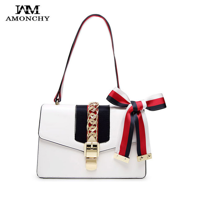 bef286f5ac AMONCHY Fashion Lock Women Shoulder Bags Famous Brand Female Leather  Crossbody Bags Noble Handbags Silk Bow