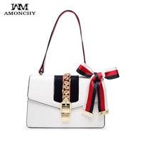 AMONCHY Fashion Lock Women Shoulder Bags Famous Brand Lady Leather Handbag Silk Bow Crossbody Bags Elegant