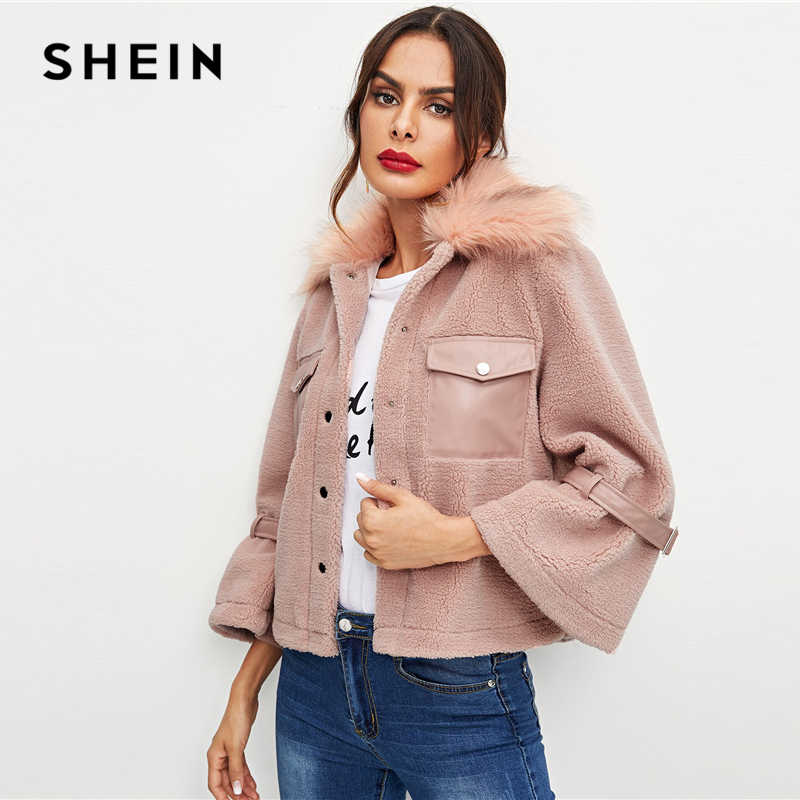 741b52d616 ... SHEIN Pink Office Lady Elegant Button And Pocket Front Faux Fur Single  Breasted Solid Coat 2018 ...