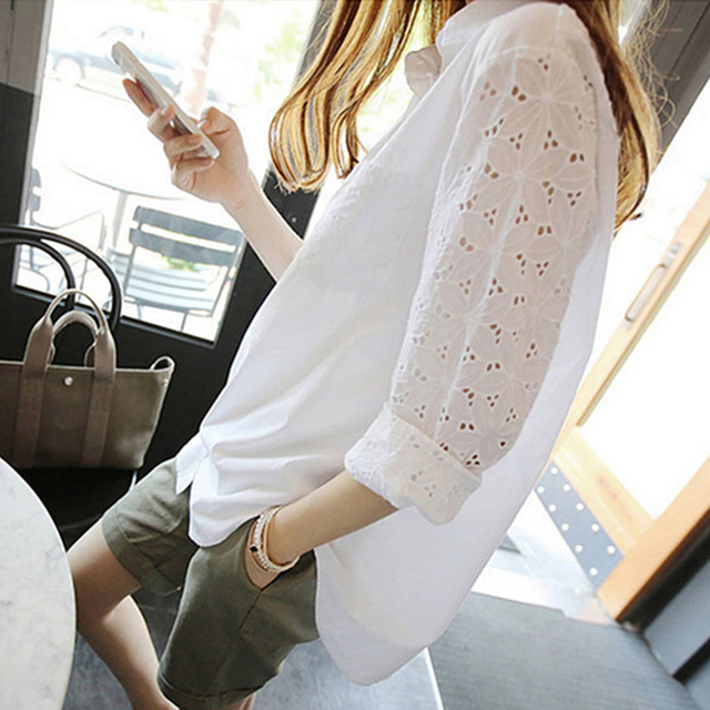 Office White Womens Tops And Blouses Tunics Plus Size 4xl 5xl Women's Blouse Work Shirt Hollow out 9/10 Sleeves Blusas Feminina