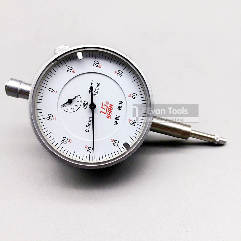 SHAN Dial Indicator 0-5mm/0.01mm Reloj Comparador Dial Test Gauge With Ear Measure Tools