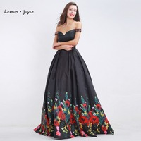 Black Floral Print Prom Dresses 2017 New Design Boat Neck Formal Two Piece Floor Length Evening