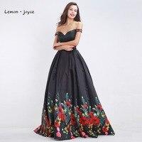 Black Floral Print Prom Dresses 2017 New Design Boat Neck Formal Two Piece Floor Length Evening