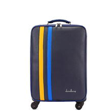 Высокое качество 22 дюймов синий искусственная кожа багаж для мужчин и женщин, Корея Модный стиль багажные сумки на колесах, fgf-0005-22