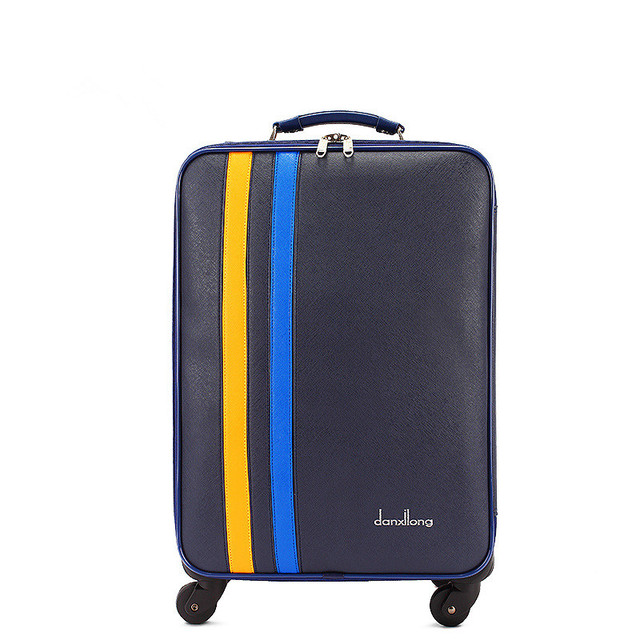 High quality 22 inch blue pu leather travel luggage for male and female,korea fashion style luggage bags on wheel,FGF-0005-22