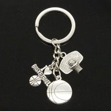 Eu amo basquete hoop pingentes diy feito à mão chaveiro do carro chaveiro jóias lembrança para o presente