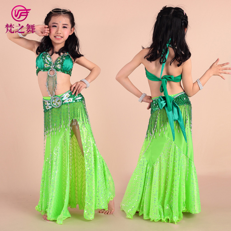 2016 Limited New Girl Bollywood Dance Wear Children Belly 3pcs/set Beaded Bra Belt Skirt