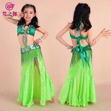 2016 Limited New Girl Bollywood Dance Wear Children Belly 3pcs/set Beaded Bra Belt Skirt Indian Kids Bellydance Costume Et-070