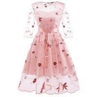 Женское кружевное платье с вышивкой рукава сетка Ретро платье для стройных элегантных женщин принцесса Подружка невесты свадебное слово в