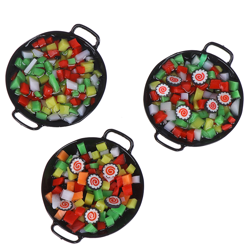 1:12 Dollhouse Miniature Mini Wok Meal Sushi Vegetables Candy Food Kitchen Toy For Forest Animal Family Collectible Kids Gift
