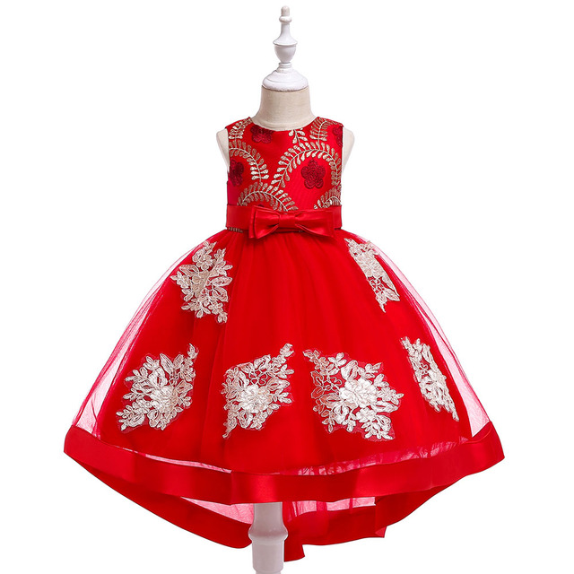 Retail Flower Girl Wedding Dress For Toddlers Girl Tailing Birthday Party Dress Kids Girl Formal Princess Dresses T5072