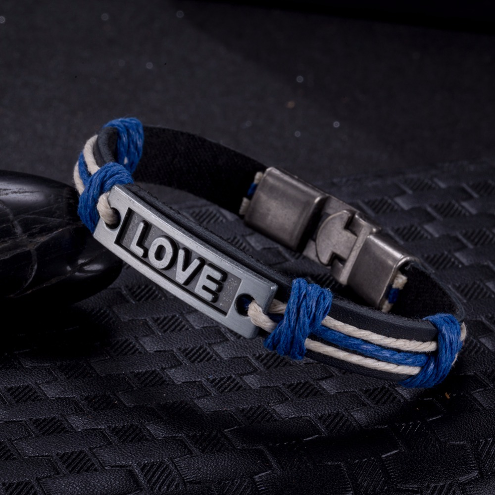 Bohemia Zinc Alloy LOVE Letter Tag Charm Bracelet for Women Genuine Leather Weaving Blue & Pink Rope Chain Bracelet H049.