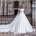 Simple Elegant Vintage Wedding Dresses Boat Neck Ball Gown Off the shoulder Cheap Wedding Dresses Elegant Bridal Gowns