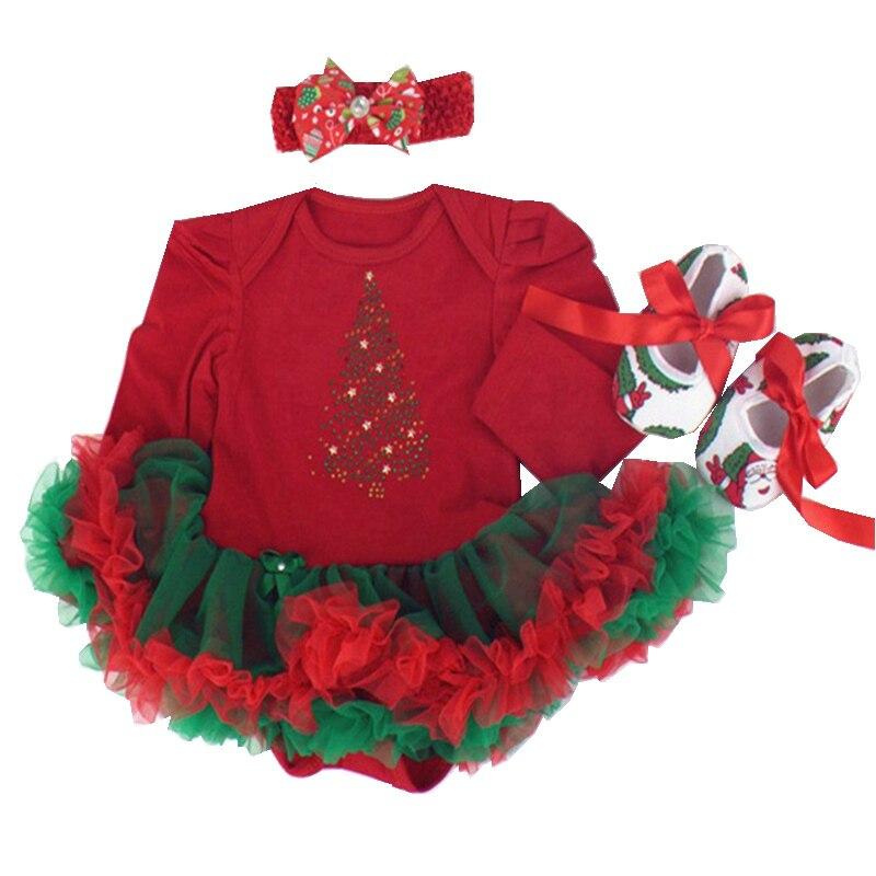 Red Christmas Tree Costumes for Kids Newborn Tutu Sets Lace Romper Dress Crib Shoes Headband 3pcs New Born Baby Girl Clothes new baby girl clothing sets christmas set lace tutu romper dress jumpersuit headband shoes 3pcs set first birthday costumes