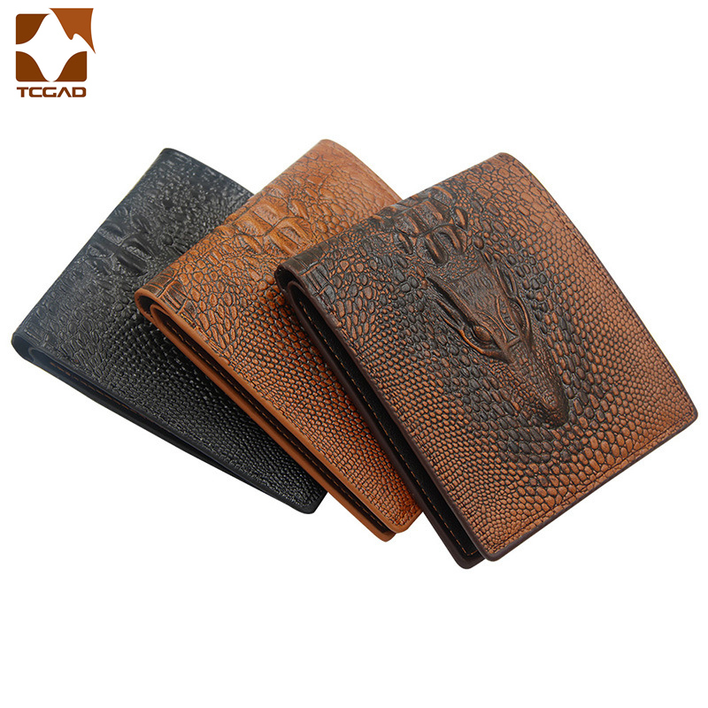 3D print wallet men Alligator leather short mens purse Vintage  carteira masculina Thin billetera hombre couro money bag