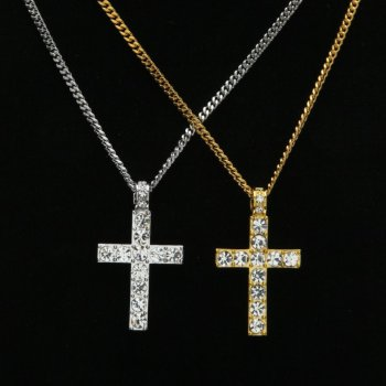 Hip Hop Jesus Crossing Crystal Pendant Men Women Jewelry Gifts Iced out Gold Silver Bling Rhinestone Crystal Pendants Necklaces