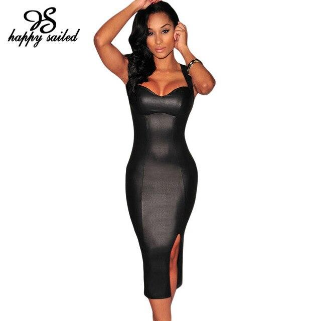 черный белый искусственной кожи мягкий безрукавный Раздвоенный нижней миди Три цвета платье новый летний мода женская одежда бесплатная доставка летние платья платья для женщин 6818