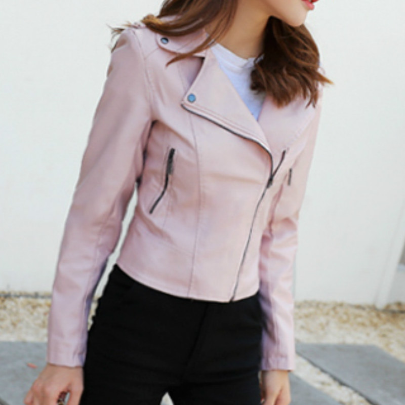 2019 Mujer Pink Short Pu Biker Jacket Female Korean Style Spring Autumn Faux   Leather   Slim Motorcycle Coat Women Clothes QH444