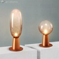 Amerikanischen kreative glaskugel tischleuchten eisen schreibtisch lampen für wohnzimmer schlafzimmer nachttischlampen büro indoor hause leuchten-in Schreibtischlampen aus Licht & Beleuchtung bei