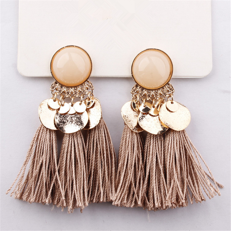 Bohemian Sequins Tassel Earrings for Women Wedding Party Acrylic Beads Statement Drop Earrings Long Vintage Fringing Jewelry