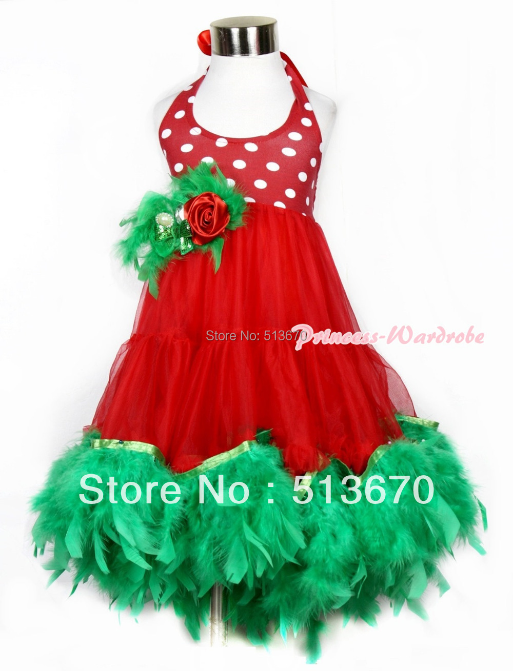 Xmas Red White Polka Dots ONE-PIECE Petti Dress with Kelly Green Posh Feather MALP26 red white polka
