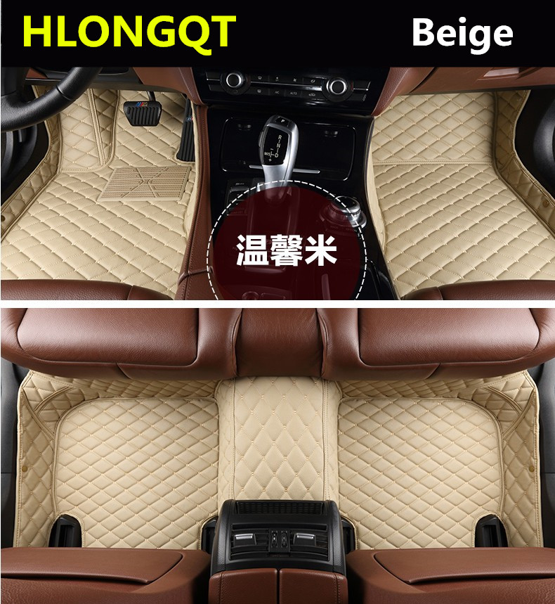 HLONGQT Auto Floor Mats For BMW 3 series E90 318 320 325 2005 2012 Foot Step Mat High Quality Embroidery Leather Free shipping