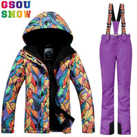 GSOU SNOW women's Winter Waterproof Ski Suit Women Ski Jacket+Pants set Outdoor Skiing Snowboard Jacket Pants Sport Snow Clothes
