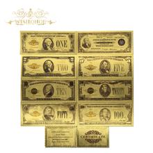 Wszystkie typy banknotów amerykańskich 24k pozłacane banknotów dolarowych w 24k złota fałszywe pieniądze rzemiosło artystyczne pamiątkowe do kolekcji tanie tanio Patriotyzmu Antique sztuczna 7days after you paid Souvenir collection Gold