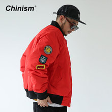 CHINISM Badges Baseball Collar Jackets Mens Winter Thick Warm Outwear Coats Loose Stylish Brand Parkas Tide Brand Clothing
