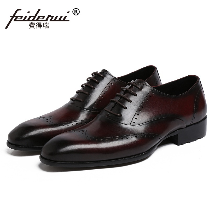 Round Toe Wing Tip Carved Man Dress Shoes Genuine Leather Brogue Oxfords Male Luxury Brand Formal Men's Wedding Flats JD69 us6 10 men s pointy toe pu leather shoes lace up brogue wing tips formal dress wedding shoes casual oxfords