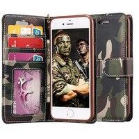 Camouflage Mobiele Telefoon Portemonnee Case Voor iPhone 6 6 s 7 plus Folding Beugel Cover Houder Mobiele Telefoon Kaartsleuf Shell Protector