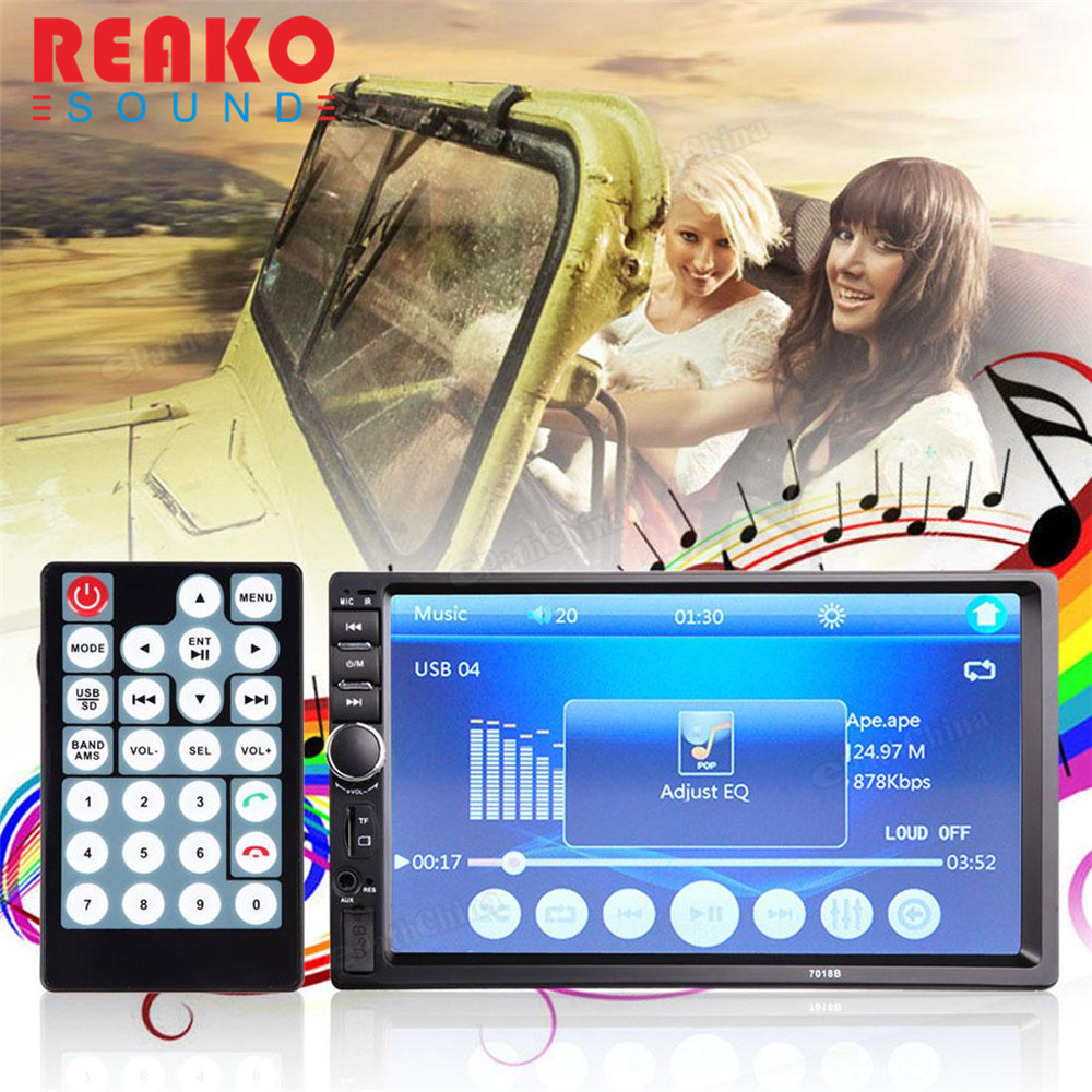 REAKOSOUND Car Video Player 7 Inch LCD HD Double DIN In-Dash Touch Screen Bluetooth Car Stereo FM MP3 MP5 Radio Player +Camera protective pu leather magnetic buckle case for ipad mini deep pink