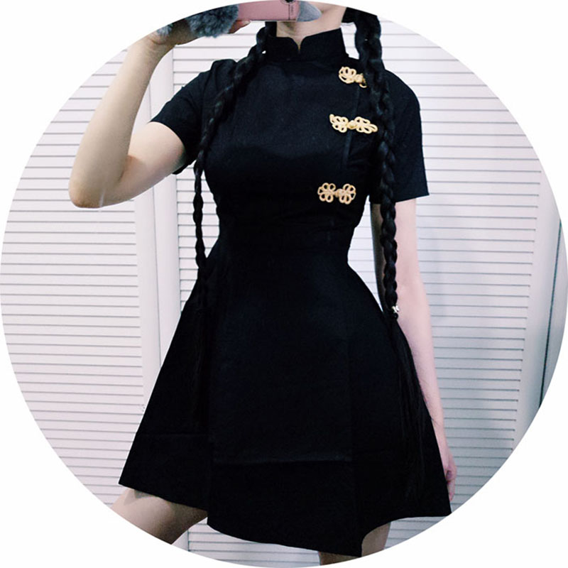 Japanese Harajuku Vintage Gothic <font><b>Lolita</b></font> <font><b>Dresses</b></font> Black Red Slim Chinese Style Cheongsam <font><b>Dress</b></font> image