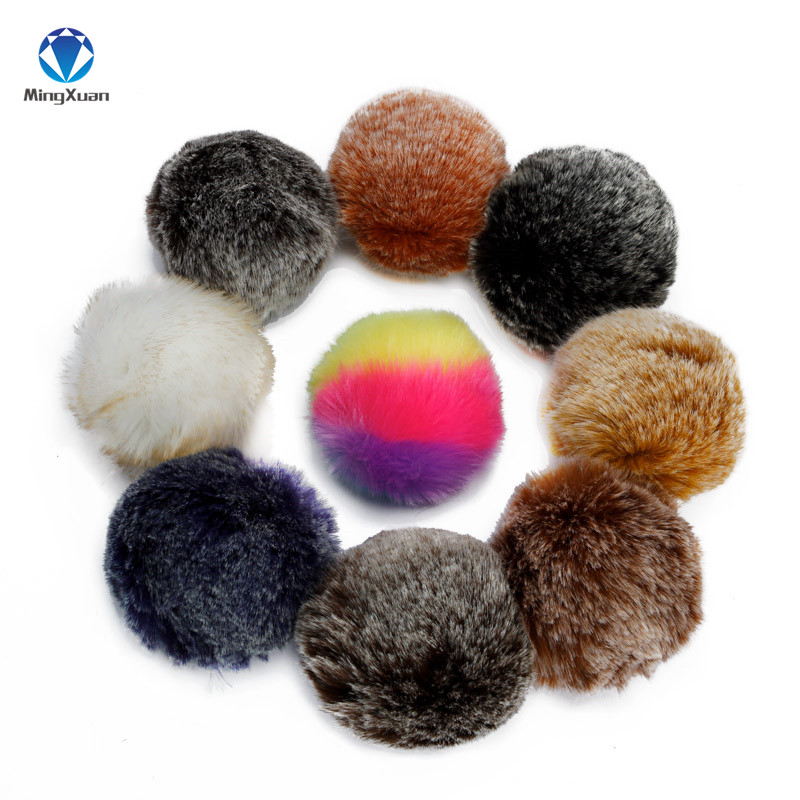 2017 New High quality 8cm Fake Faux Rabbit Fox Fur Pompom Ball Pom for Car Keychain Keyring Women bag Pendant DIY wholesale
