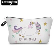 Deanfun unicornio bolsas de cosméticos 3D impreso estrella nueva moda femenina organizador de maquillaje almacenamiento con cremallera 50946