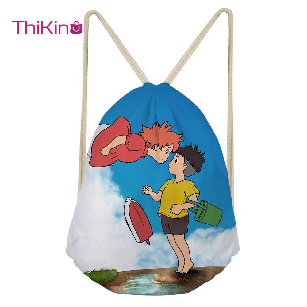 Thikin Ponyo Casual Sack Drawstring Bag for Boys Cute Pet Travel Backpack Toddler Softback Lady Beach