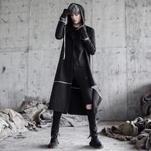 Мужской плащ в стиле панк, хип-хоп, Длинные куртки, для ночного клуба, певица, черный костюм, мужской Готический плащ с капюшоном, пальто, корейское съемное пальто